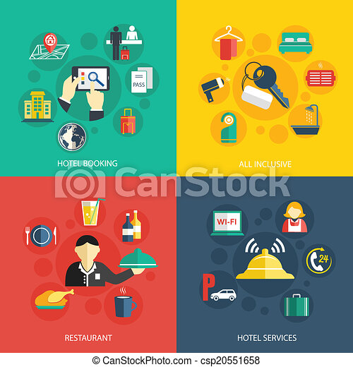Hotel Accommodation Services Concept Flat Icons Set Of Room