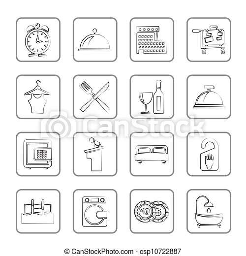 Hotel and motel icons - csp10722887