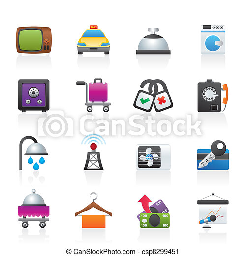 Hotel And Motel Room Facilities Icons Vector Icon Set