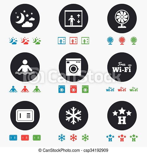 hotel apartment service icons wifi internet hotel apartment
