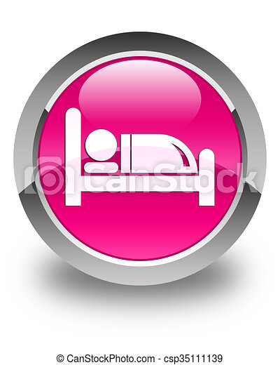 Hotel bed icon glossy pink round button - csp35111139