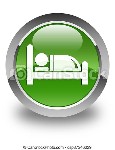 Hotel bed icon glossy soft green round button - csp37346029