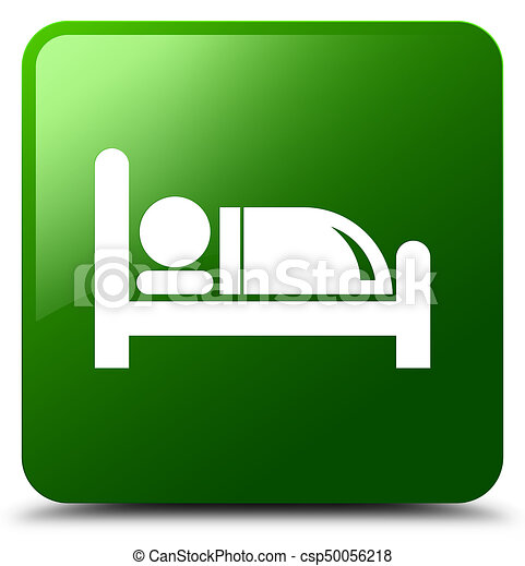 Hotel bed icon green square button - csp50056218