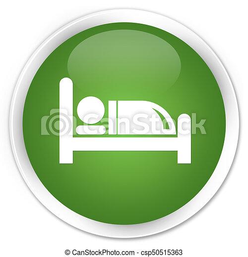 Hotel bed icon premium soft green round button - csp50515363