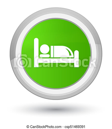 Hotel bed icon prime soft green round button - csp51469391