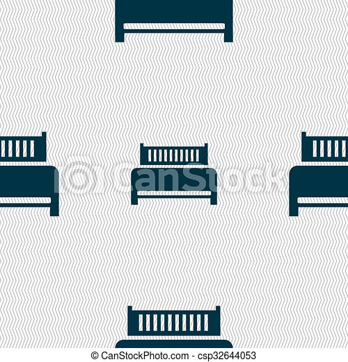 Hotel, bed icon sign. Seamless abstract background with geometric shapes.  - csp32644053