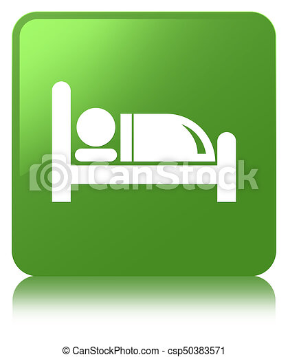 Hotel bed icon soft green square button - csp50383571