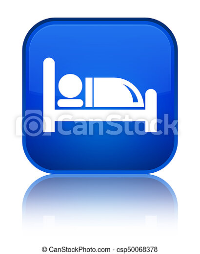 Hotel bed icon special blue square button - csp50068378