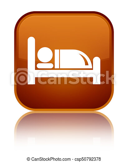 Hotel bed icon special brown square button - csp50792378