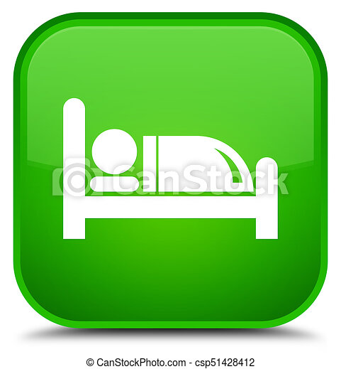 Hotel bed icon special green square button - csp51428412