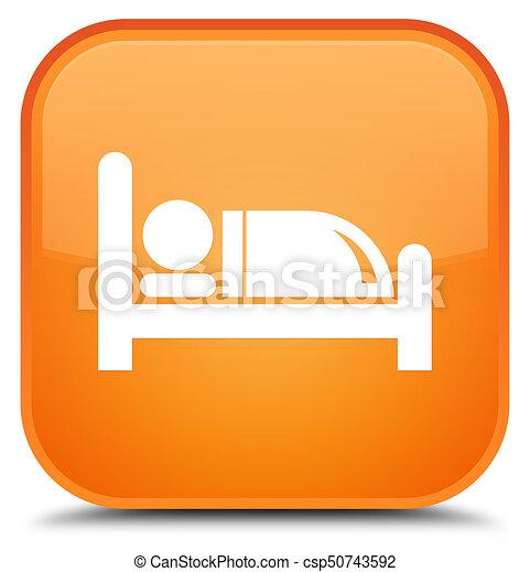 Hotel bed icon special orange square button - csp50743592