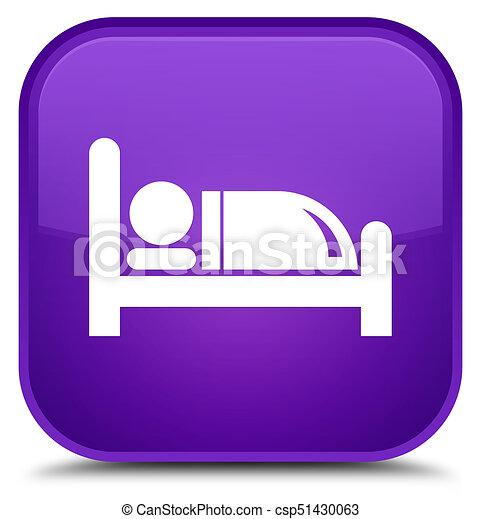 Hotel bed icon special purple square button - csp51430063