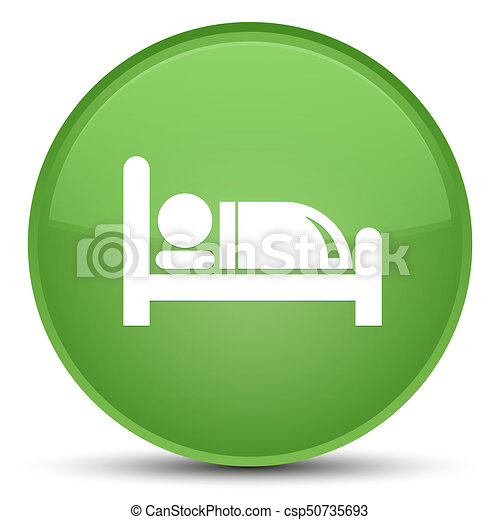 Hotel bed icon special soft green round button - csp50735693