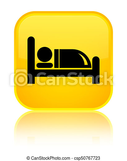 Hotel bed icon special yellow square button - csp50767723