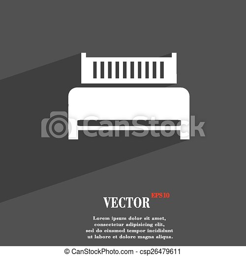 Hotel, bed icon symbol Flat modern web design with long shadow and space for your text. Vector - csp26479611