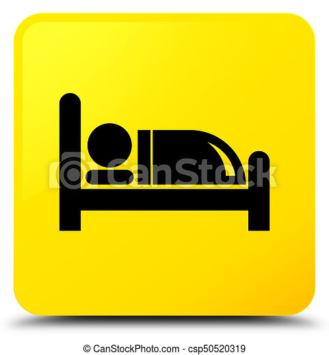 Hotel bed icon yellow square button - csp50520319