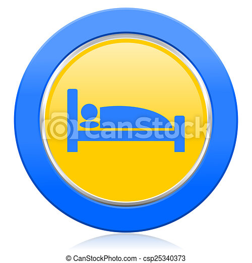 hotel blue yellow icon bed sign - csp25340373