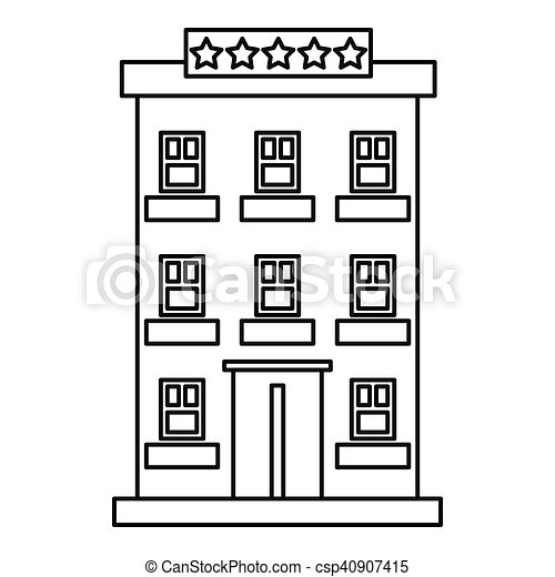 Hotel Building Five Stars Icon Outline Style