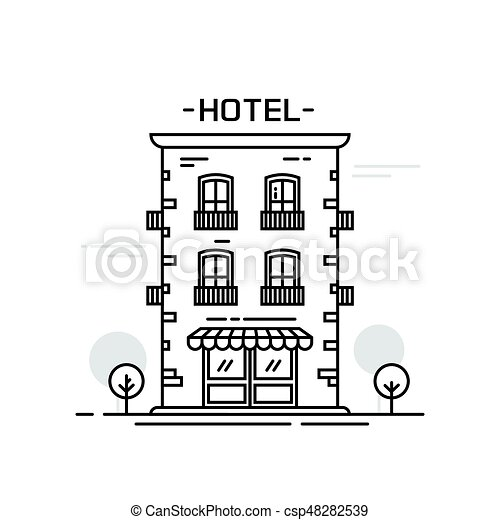 Hotel Building Line Outline Cartoon Style Vector Illustration Isolated