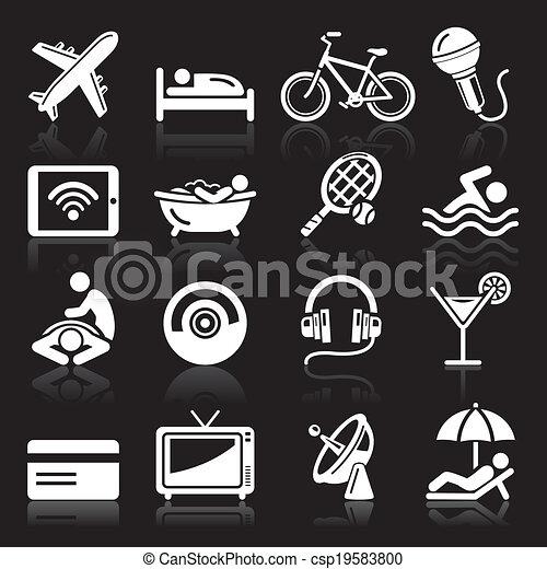 Los iconos del hotel se fijan en el fondo negro - csp19583800