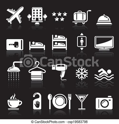 Los iconos del hotel se fijan en el fondo negro - csp19583798