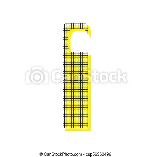 Hotel Door hanger tag sign. Vector. Yellow icon with square patt - csp56360496
