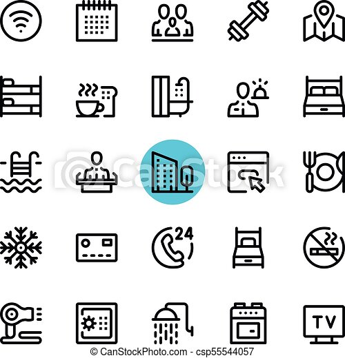 Hotel Facilities Hotel Services Line Icons Set Modern Graphic Design Concepts Simple Outline