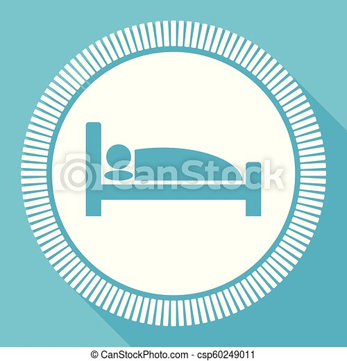 Hotel flat vector icon, sleep bed square blue web button - csp60249011