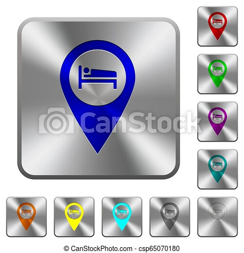 Hotel GPS map location rounded square steel buttons - csp65070180