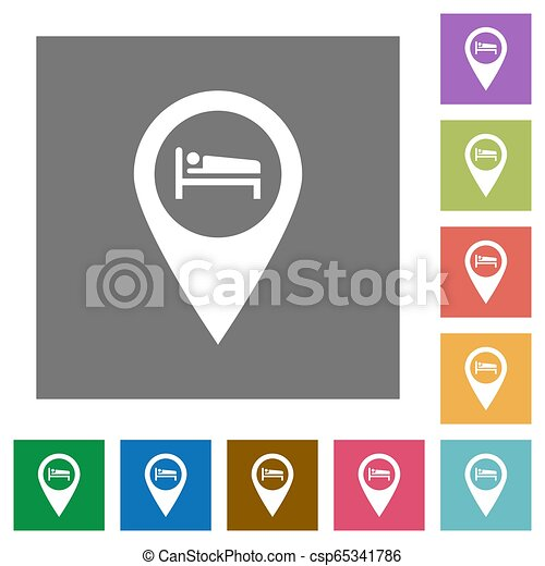 Hotel GPS map location square flat icons - csp65341786