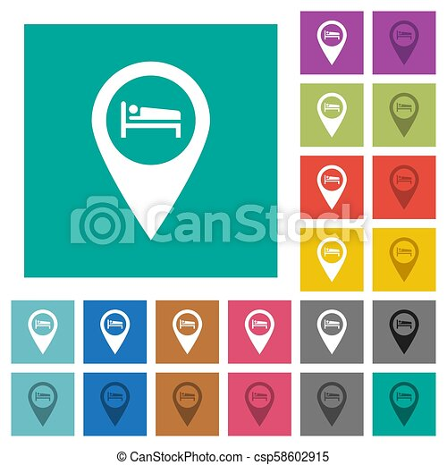 Hotel GPS map location square flat multi colored icons - csp58602915