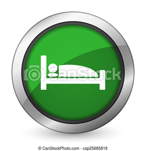 hotel green icon bed sign - csp25685818