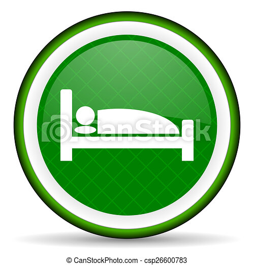 hotel green icon bed sign - csp26600783