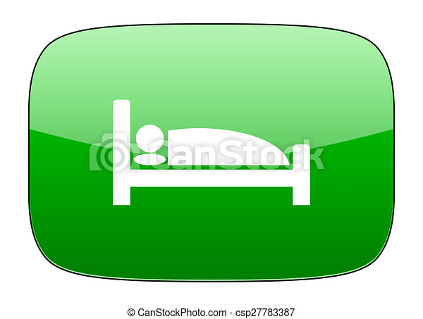 hotel green icon bed sign - csp27783387