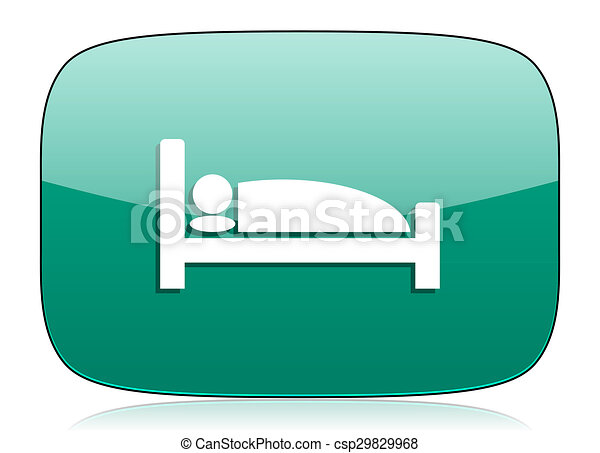 hotel green icon bed sign - csp29829968