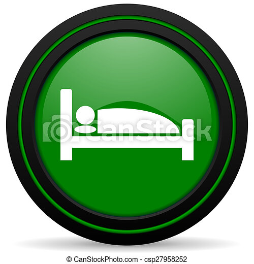 hotel green icon bed sign - csp27958252