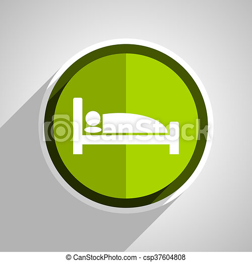 hotel icon, green circle flat design internet button, web and mobile app illustration - csp37604808