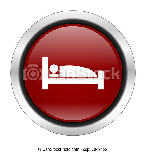 hotel icon, red round button isolated on white background, web design illustration - csp37049422