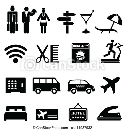 Hotel Icon Set Symbols In Black