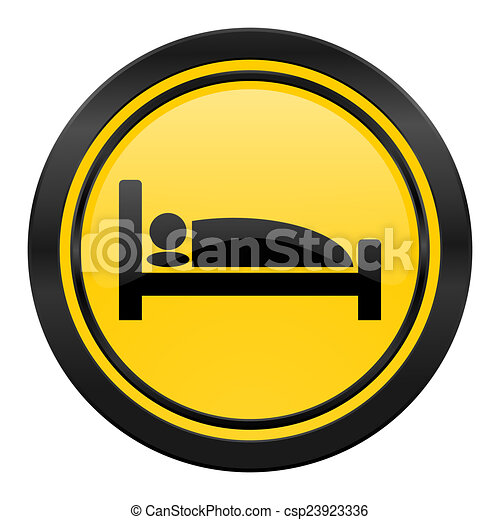 hotel icon, yellow logo, bed sign - csp23923336