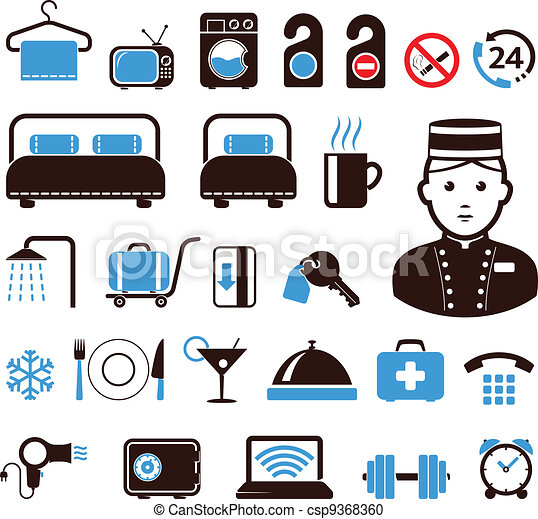 iconos del hotel - csp9368360