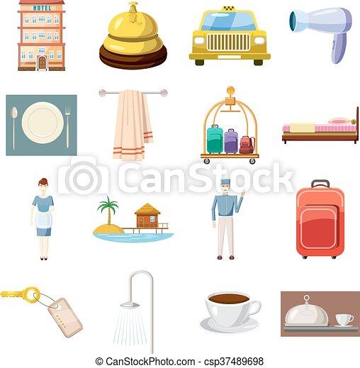 Hotel icons set, cartoon style - csp37489698