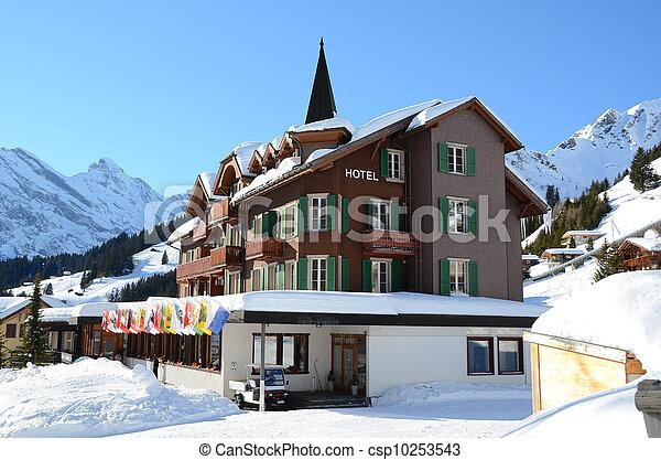 Hotel in Muerren, famous Swiss skiing resort - csp10253543