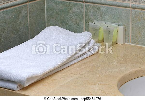 Hotel, interior, cuarto de baño, lavado, accesorios. Cuerpo ...