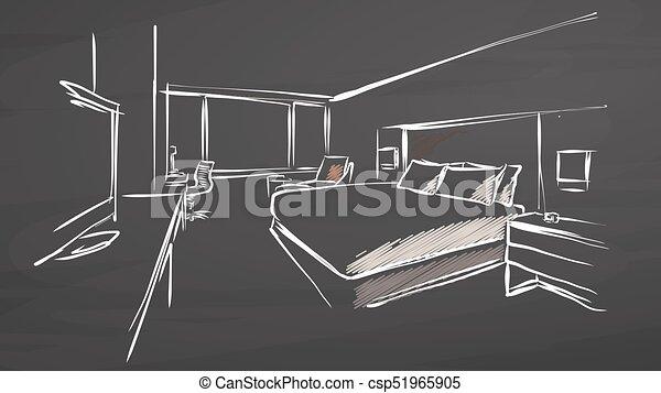 Hotel Interior Design Concept On Chalkboard   Csp51965905