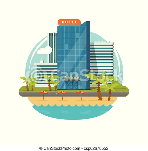 Hotel isolated near sea or seafront resort view vector illustration, flat cartoon modern eco hotel building on green grass, beach and promenade or street clipart - csp62678552