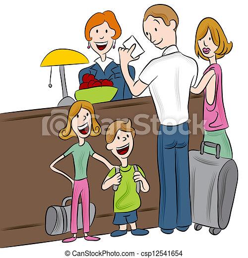 hotel, melden, familie - csp12541654