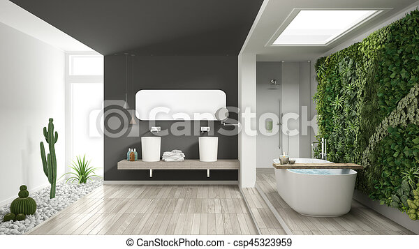 Hotel minimalist badkamer spa verticaal grijs houten