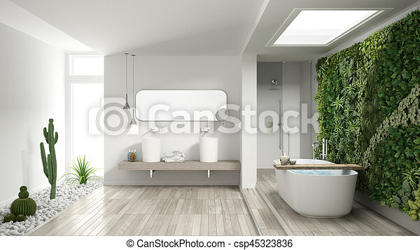 Hotel minimalist badkamer spa verticaal succulent houten