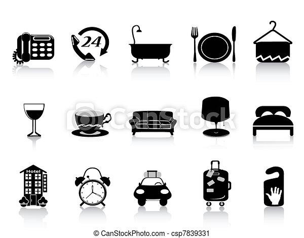 iconos del hotel negro - csp7839331